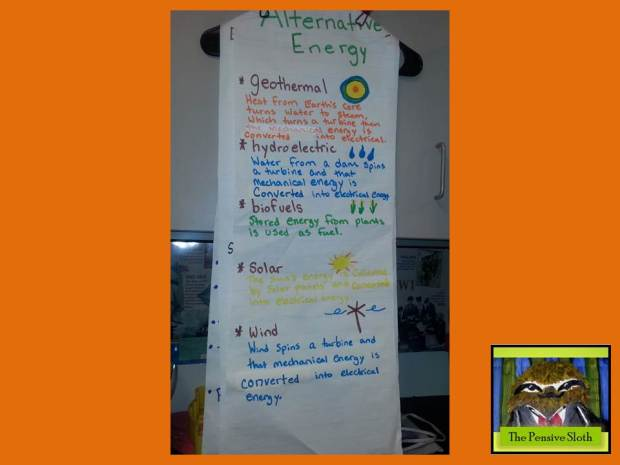 Anchor chart for different types of alternative energy.  (geothermal, hydroelectric, solar, wind, biofuel/biomass)