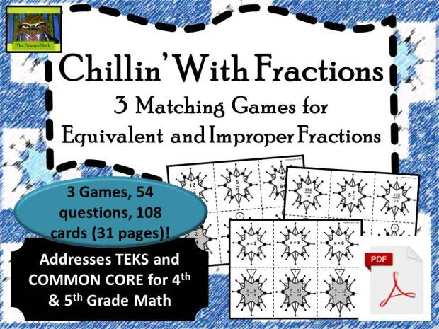 un winter-themed game for students to practice equivalent fractions, including improper fractions and mixed numbers!