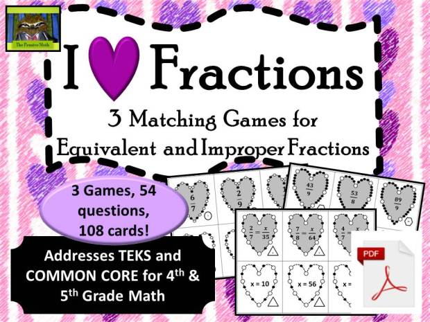 Fun heart themed fractions games to help students practice matching equivalent fractions, including improper fractions and mixed numbers.