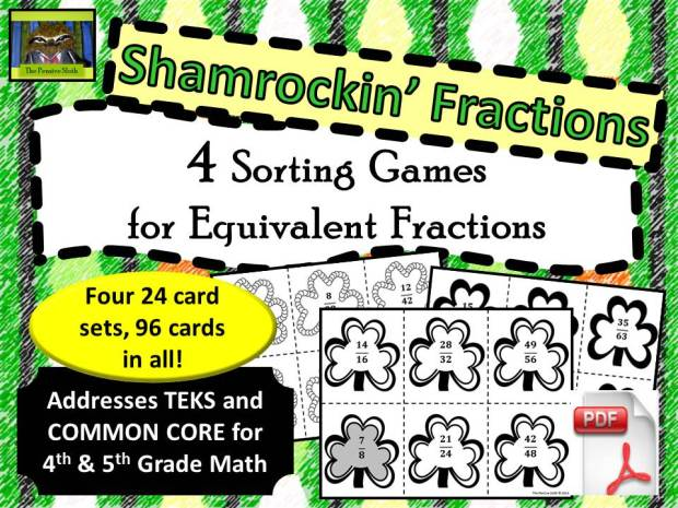 St. Patrick's Day/Shamrock Theme Game--Students sort fractions by finding equivalent fractions and matching them to the simplified (or reduced) fraction.