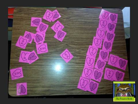 Valentine's Day fractions matching game for equivalent fractions, including mixed numbers and improper fractions
