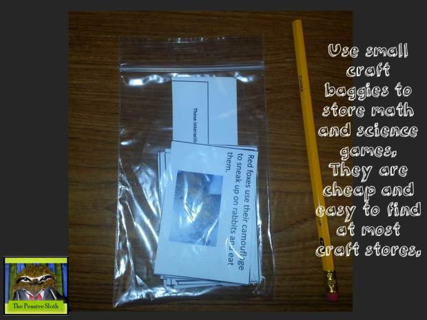 @thepensivesloth small ziplock baggies for storing classroom games
