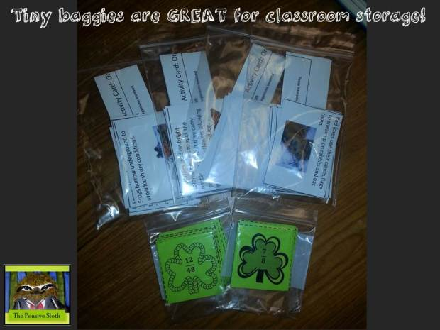 @thepensivesloth mini storage bags for classroom stations and centers