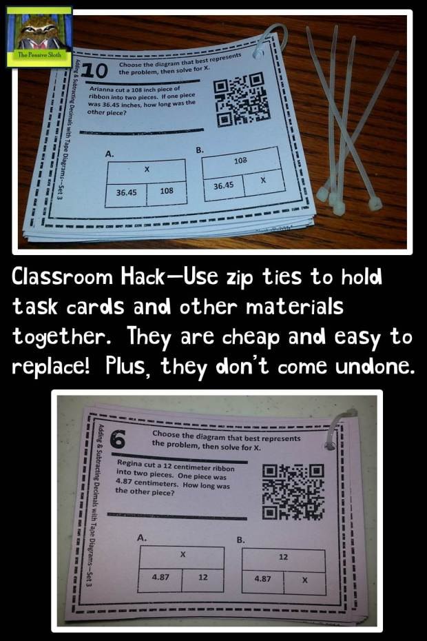 Classroom Hack Zip Ties for Task Cards from The Pensive Sloth