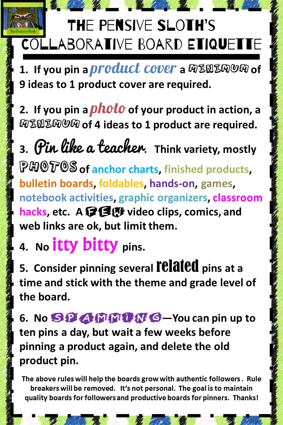 Collaborative Classroom Rules ~ Pinterest the pensive sloth