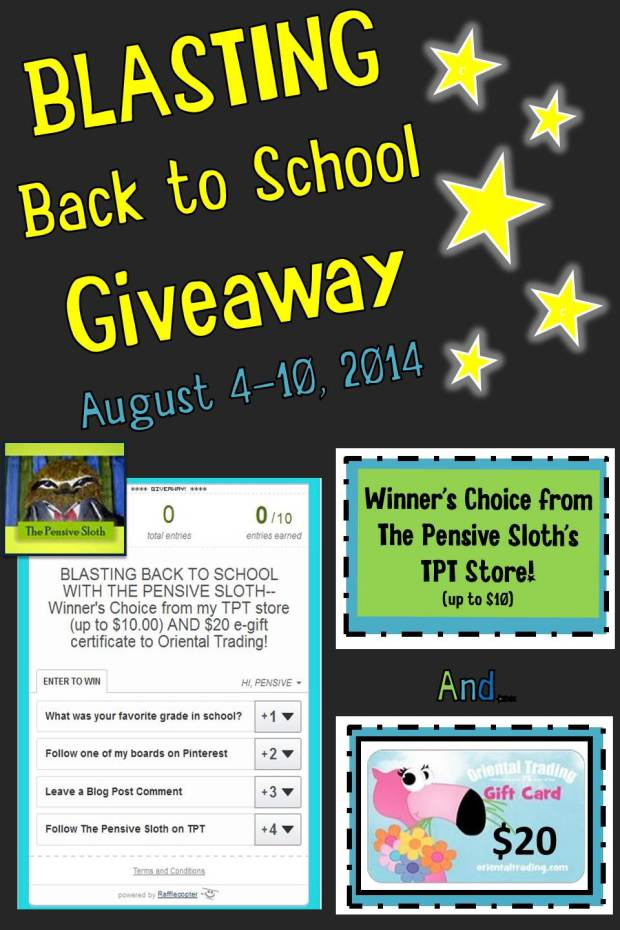 Blasting Back To School Giveaway from The Pensive Sloth August 2014