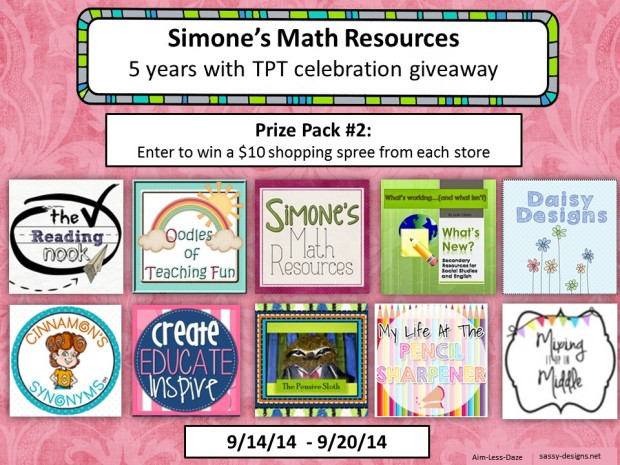 Giveaway 2 from Simone's Math Resources--Sept. 14-20, 2014.