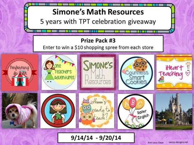 Giveaway 3 from Simone's Math Resources--Sept. 14-20, 2014.