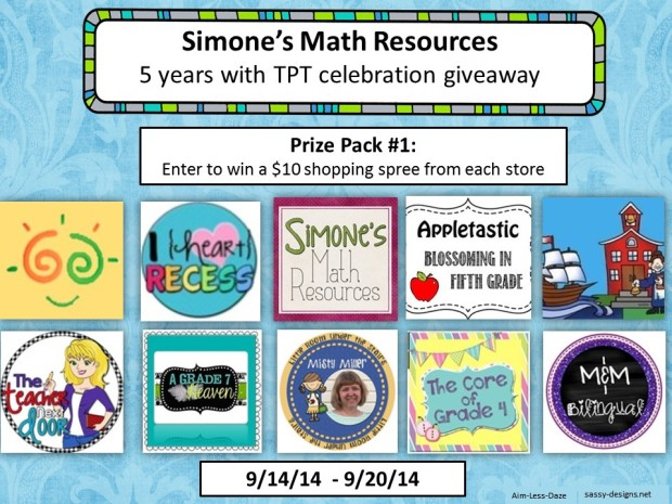 Giveaway 1 from Simone's Math Resources--Sept. 14-20, 2014.