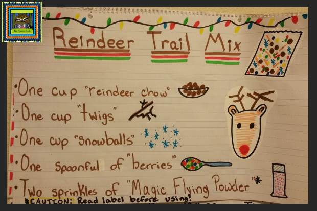 Reindeer Trail Mix Recipe Anchor Chart from The Pensive Sloth  (holidays in the upper elementary classroom)