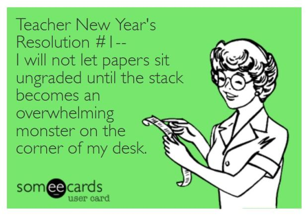 Teacher Humor New Year's Resolution on Graded Papers
