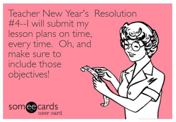 Teacher Humor New Year's Resolution on Lesson Plans