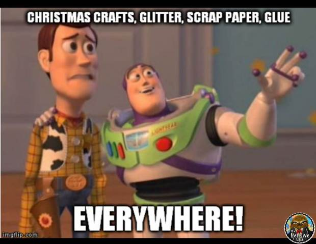 Teacher Humor from The Pensive Sloth Teacher Meme Christmas Crafts Glitter Scrap Paper Glue Everywhere