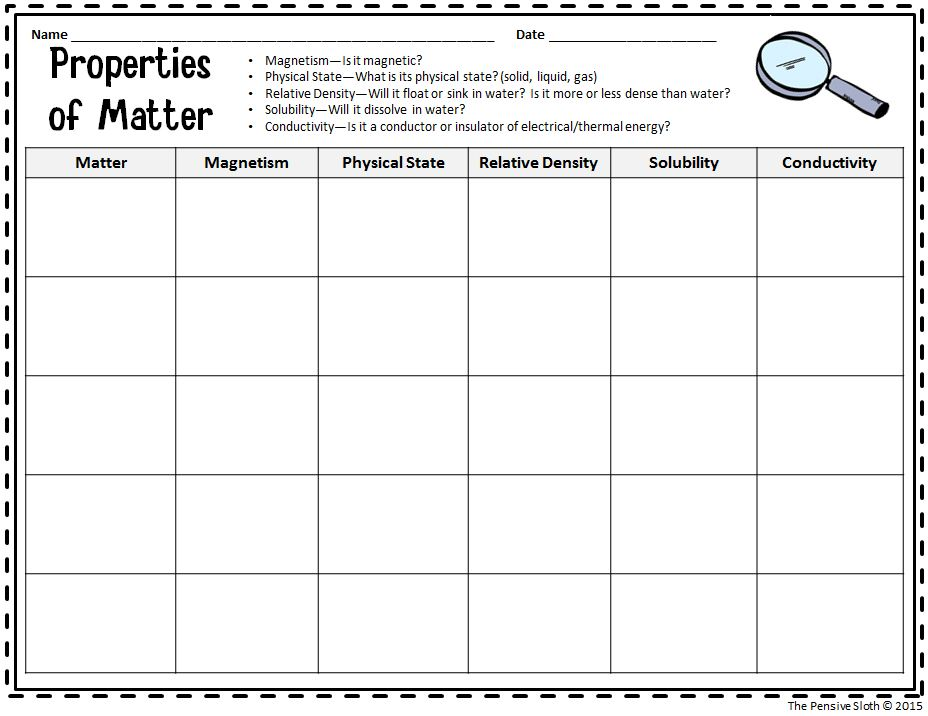 Describing matter worksheet 7th grade
