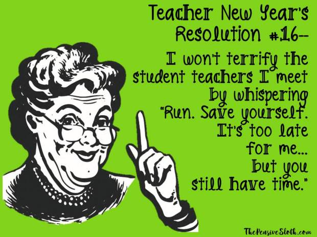 Top Teacher New Year's Resolutions from The Pensive Sloth